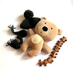 "Teddy bear rag doll toy plushie handmade stuffed animal plush soft softie toddler child baby safe beige 25 cm 9.8"". $45.00, via Etsy."