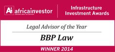 BBP Law Africa nominated for Africa investor (Ai) Legal Advisor of the Year Award 2014 - April 2014 - Africa investor (Ai) has announced that BBP Law Inc. has been nominated for its prestigious Legal Advisor of the Year Award 2014.  The Summit and Awards will take place on 6 May 2014 at the Hilton Transcorp, Abuja, Nigeria. See the link below for further details.  Good luck to all nominees! Gas Energy, Legal Advisor, Attorney At Law, Oil And Gas, Investing, Awards, Africa, Link