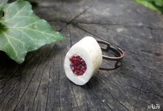 Deer antler ring with cinnabar  natural jewelry  by UrdHandicrafts, $30.00