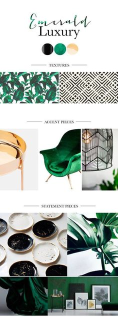Emerald inspired living room design with botanical and geometric patterns. Next year we are all going green, according to the Pantone Color of the year 2017 - Modern Living Room Interior Design Trends, Colorful Interior Design, Colorful Decor, Interior Design Mood Boards, Moodboard Interior Design, Design Boards, Interior Livingroom, Luxury Interior, Modern Interior