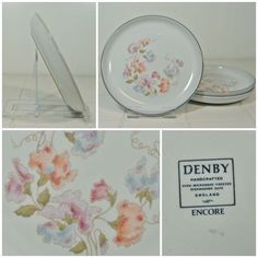 3 x Denby Encore Tea Plates 17cm - Vintage Sherwood Side Cake Sweet Pea FREE P&P
