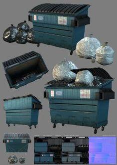 Game - Dumpster by raykitshum Blender 3d, Prop Design, Game Design, Game Textures, Game Props, 3d Texture, Game Assets, Environment Concept Art, Environmental Art