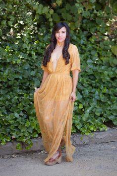 Bardot Lace Maxi Romper - Mustard Yellow