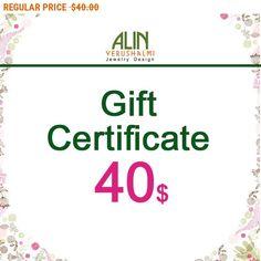 20% OFF - CIJ SALE Jewelry Gift Certificate, 40, last minute gift