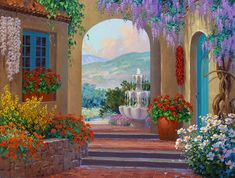 Mikki Senkarik is known for her cheerful and vibrant art which inspires a world of happiness for her viewers. Pintura Colonial, Courtyard Landscaping, Tuscany Landscape, Pintura Exterior, Creation Photo, Tile Murals, Beautiful Paintings, Love Art, Painting Inspiration
