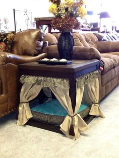 Leopard Pet Bed/ End Table by CrossBoneDog on Etsy, $239.00