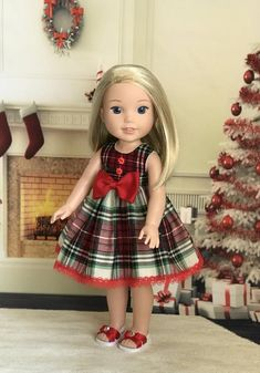 Excited to share this item from my shop: Holiday Outfit for Wellie Wishers doll American Doll Clothes, Girl Doll Clothes, Doll Clothes Patterns, Girl Dolls, Ag Dolls, Dress Patterns, Holiday Dresses, Holiday Outfits, American Girl Wellie Wishers