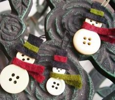 DIY Button Snowman Ornaments to decorate Christmas cards or hang them on a tree or window or anything you can think of. All you need are some buttons, felt and glue.