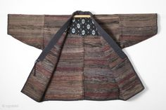 This is a handsome work jacket made entirely of sakiori in earthy and warm colors. Sakiori describes a weaving technique in which shreds torn from older cloth, such as kimono or futon,  ...