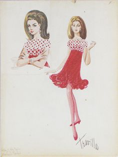 "Travilla's sketch for the dress Anne wears in the restaurant scene in ""Valley of the Dolls"" Hollywood Costume, Hollywood Dress, Vintage Hollywood, Costume Design Sketch, Sketch Design, Theatre Costumes, Movie Costumes, Fashion Art, Vintage Fashion"