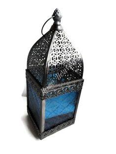 MOROCCAN BLUE GLASS & SILVER METAL CANDLE TEA LIGHT HOLDER INDOOR OUTDOOR