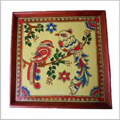 Madhubani Birdies  Lively painting from ancient galleries of Madhubani art. Make this birdie painting part of your décor and let your living room chirp.  Size: 12 x 12 inches  Price: Rs.800/-(Shipping charges extra) Product Code: CT/SS/011 Available @ www.curiotown.com