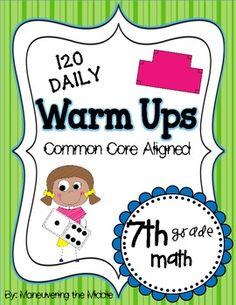 Common Core Daily Math Warm Ups {7th Grade}