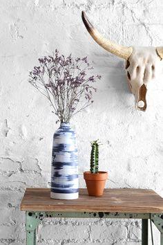 Faded Dye-Stripe Vase