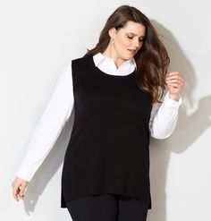 1549b0942fb Shop trendy new plus size tops for fall like the plus size Sweater Vest 2fer  Pullover