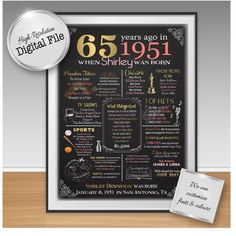 Personalized 65th Birthday Chalkboard Poster Design 1951 Events Fun Facts Gift Digital File