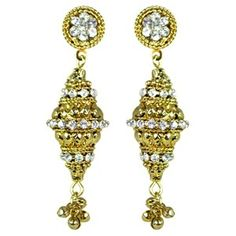 Lubna Gold Vedic Earrings || Available on ► www.vmfashion.com