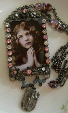 Soldered Glass Necklace  St. Jude Pray For Me by Vintagearts, $65.00