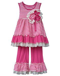 Isobella and Chloe Pink Stripe CANDYLAND Knit Capri set Girls (sz 12m-6x) - sweet for spring and summer!