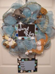 Custom Birth/ Baby Shower / Baby Welcome / Hospital Door by Baby Boy Wreath, Baby Wreaths, Diy Wreath, Wreath Making, Wreath Ideas, Hospital Door Wreaths, Baby Joey, Baby Door Hangers, Baby Birth