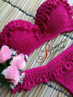 Love it ❤️. Shorts Crochet, Bikinis Crochet, Crochet Bikini Top, Crochet Summer Dresses, Crochet Girls, Crochet Woman, Crochet Bathing Suits, Girls Bathing Suits, Crochet Collar