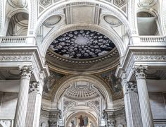 Installation by JR at Au Panthéon in Paris, France - photo by Yann Caradec, via Flickr;  JR's installation covers the dome, the cupola, and the floor of the Pantheon.