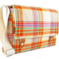 iPad messenger bag made with vintage wool fabric.