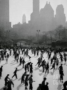 Iceskating in New York Photographic Print at Art.com