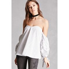 Forever21 Striped Off-the-Shoulder Top ($28) ❤ liked on Polyvore featuring tops, white, striped top, white top, sweetheart top, sweetheart off the shoulder top and long off the shoulder tops
