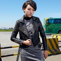 High quality Leather Jacket Women Punk Style Faux Leather Coat Female Glisten Gold Rivet jacket Pu Leather Jackets Casaco Femme -- AliExpress Affiliate's buyable pin. Click the image to visit www.aliexpress.com