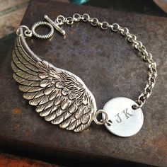 Personalized Initial Steampunk Angel Wing Personalized Jewelry ,Custom hand stamped bracelet, Customized Gift for Her for Him  [ DETAILS ]