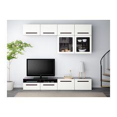 BESTÅ TV storage combination/glass doors - black-brown/Marviken white clear glass, drawer runner, soft-closing - IKEA