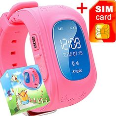 GBD GPS Tracker Smart Watch for Kids with Sim Card Smartwatch Phone Anti-lost Finder SOS Gprs Children Fitness Tracker Wrist Watch Bracelet with Pedometer Parents Control App for Smartphone(Pink) *** You can find out more details at the link of the image.