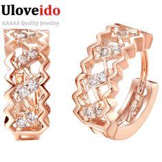 Uloveido Rose Plaqué Or Boucles D'oreilles pour les Femmes Boucles D'oreilles De Mode Argent Plaqué Boucle D'oreille Zircon Cristal Bijoux Cadeaux R320