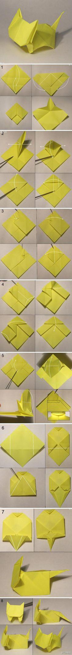 #折纸教程# 可爱小猫折纸
