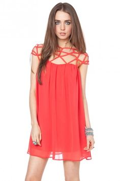 Etoile chiffon dress in coral