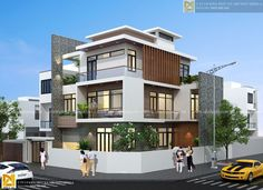 Phối cảnh góc biệt thự đẹp hiện đại 3 tầng 3 Storey House Design, Duplex House Design, Modern House Design, Home Building Design, Building A House, Modern Exterior, Exterior Design, Small Villa, Flat Roof House