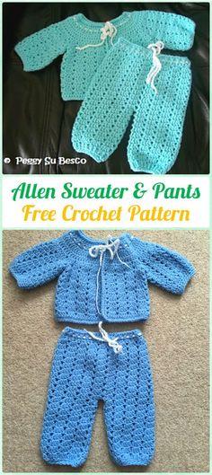 Crochet Allen Sweater & Pants Free Pattern - Crochet Baby Pants Free Patterns