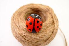 Ladybug ring  Statement red ring  Adjustable ring  by DropsOfArt, €12.00