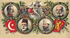 Kaiser Franz Joseph, Tsar Ferdinand of Bulgaria, Sultan Mehmed V, and Kaiser Wilhelm II Wilhelm Ii, Kaiser Wilhelm, Bulgaria, Kaiser Franz, Turkish Soldiers, Austro Hungarian, Army Soldier, Poster Pictures, World War One
