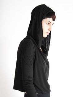 ATER cropped draped hoody with oversized hood by SanctusClothing
