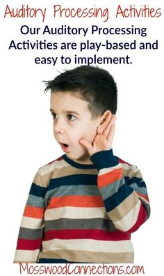 Our Auditory Processing Activities are play-based and easy to implement. Auditory Processing Activities, Auditory Processing Disorder, Social Skills Activities, Sensory Activities, Infant Activities, Learning Activities, Sensory Diet, Auditory Learning, Sensory Rooms