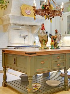 French Country kitchen - love this island...