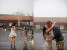 rainy engagement photos. Don't know how you'd plan it... Haha