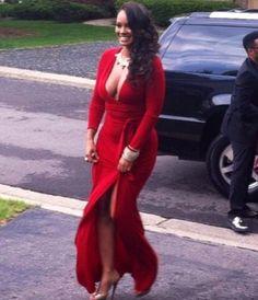 Evelyn Lozada red dress