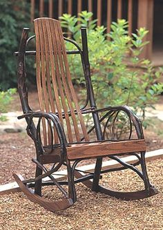 Oversized Amish Style Bent Hickory Rocker:  I own one (bought it in the Adirondacks); it's comforable and rustic in style.