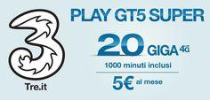 3 Italia lancia la nuova offertaPlay GT5 Super con 1000 minuti verso tutti e 20 GB di traffico internet a soli 5 euro ogni 28 giorni.