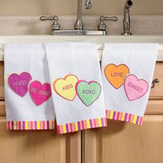 valentine's hearts dish towels