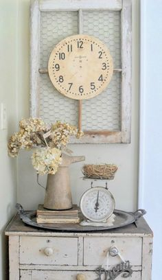 Salvaged Window Frame - French Shabby Chic Decorating Ideas