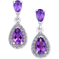 Amethyst (1-1/10 ct. t.w.) and Diamond (1/4 ct. t.w.) Halo Drop... ($1,100) ❤ liked on Polyvore featuring jewelry, earrings, white gold, 14k diamond earrings, 14 karat gold earrings, drop earrings, purple drop earrings and 14k earrings